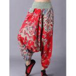 New Retro Women Folk Style Print Elastic Waist Pants