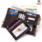 New GZCZ Women Men RFID Genuine Leather Coin Bag