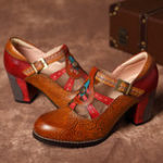 New SOCOFY Vintage Hollow Out Chunky Heel Leather Pumps