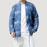 New Mens Loose Printing Open Stand Collar Casual Cardigans