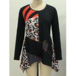 New Casual Women Print Irregular Hem Long Sleeve Blouse