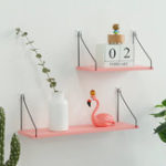 New Pink Iron Wooden Bookshelf Wall Shelf Holder Rack Organizer Craft Storage Home Decoration
