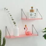 New Pink Iron Wooden Bookshelf Wall Shelf Holder Rack Organizer Craft Storage Home Decoration