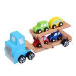New Beva 5 In 1 Truck Model Toy Environmental Wooden Car Load Vehicle Kid Developmental Toys
