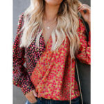 New Women V Neck Floral Blouse
