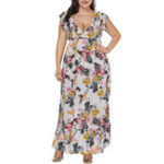 New Plus Size V-neck Ruffles Short Sleeve Floral Dress