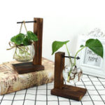 New Wood Stand Iron Shelf Flower Vase Flower Pot Holder Crystal Glass Vase Home Decor
