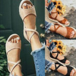 New Big Size Flat Thick Bottom Roman Zipper Sandals
