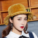 New Women Chenille Foldable Bucket Cap Bow Fisheman Hat