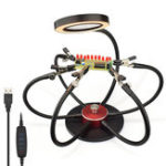 New USB LED Lights PCB Fixture Soldering Iron Holder 3X Magnifying Glass Soldering Station Third Hand Welding Tool with 6Pcs Flexible Arms