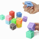 New 6/12 PCS Baby Grasp Rubber Squeeze Toy Developmental Model Building Learning Toys With Box Packing