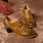 New SOCOFY Handmade Embossed Pattern Genuine Leather Pumps
