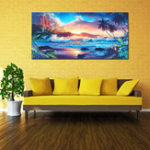 New Home Decor Canvas Print Paintings Wall Art Modern Sunset Scenery Beach Tree Gift