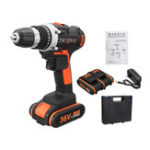 New 36V Cordless Electric Drill LED Light Double Speed Li-Ion Battery Power Drills Driver Repair Tools
