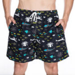 New Mens Summer Drawstring Undersea Animal Printing Board Shorts