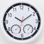 New 10 Inch Creative Mute Plastic Wall Clock With Thermometer Hygrometer Home Room Decor