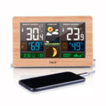 New FanJu FJ3378 Digital Alarm Clock Weather Station Indoor Outdoor Temperature Humidity Meter Moon Phase Weather Forecast USB Charger