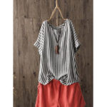 New Women Casual Stripe Round Neck Short Sleeve T-Shirts