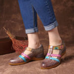 New SOCOFY Genuine Leather Hollow out Pattern Hook Loop Sandals