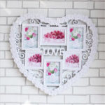 New 60x55cm Creative Photo Frame Wall Mount Collage Love 6 Pictures Heart Decor