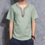 New INCERUN Men Cotton Vintage V-neck Embroidery Top Shirts