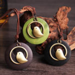 New Vintage Round Wood Plate Pendant Necklaces