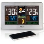 New Digital Alarm Clock Weather Station Wall Indoor Outdoor Temperature Humidity Watch Moon Phase Forecast USB Charger