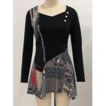New Vintage Women Print Patchwork Irregular Hem Mini Dress