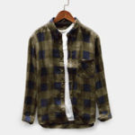 New Men Vintage Plaid Plus Size Loose Checkered Shirts