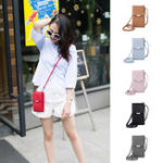 New Women PU Leather Long Wallet Card Holder Purse Shoulder Phone Bag Crossbody Bag