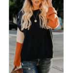 New Women Casual Color-Block Knitted Long Sleeve Sweaters