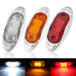 New LED Chrome Side Marker Indicator Lights Lamps 24V 10cm for Truck Trailer Lorry