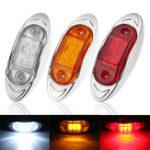 New LED Chrome Side Marker Indicator Lights Lamps 24V 10cm for Truck Trailer Lorry