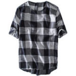 New Mens Plaid Cotton Casual Loose T-Shirts Summer Tops