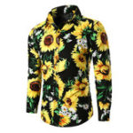 New Mens Cotton Flower Printing Casual Shirts