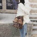 New Women Plush Leopard Print Multipurpose Backpack Shoulder Bag