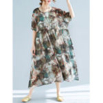 New Plus Size Floral Print Batwing Sleeve Chiffon Dress