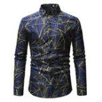 New Men Geometry Printing Turn Down Collar Casual Designer Shirt