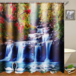 New 71X71″ Swans Flowers Cascade Waterproof Home Bath Decor Shower Curtain + Hooks