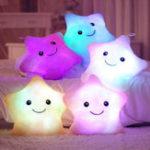 New LED Flash Light Star Stuffed Cushion Soft Cotton Plush Throw Pillow Home Decor Office Kids Toy