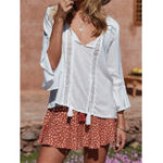 New Women Lace Patchwork Solid Color Horn Cuff 3/4 Sleeve Blouse