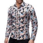 New Mens Turn Down Colllar Printing Long Sleeve Casual Shirts