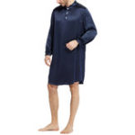 New Mens Comfy Long-Sleeved Silk Satin Pajama Bathrobe Home Robe