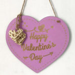New Valentine's Day Wood Heart Door Decor Wall Hanging Sign Craft Ornaments Party Decorations