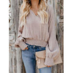 New Women Casual Solid Color Elastic Waist V-Neck Blouse