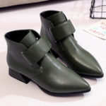 New Pure Color Hook Loop Casual Ankle Boots For Women