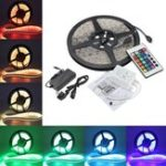 New 5M 5050 RGB Waterproof 300 LED Strip Light DC12V + 24 Key IR Controller + 5A EU Power Supply