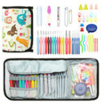 New 64pcs Crochet Hooks Kit Yarn Knitting Needles Sewing Tools Grip Set Folding Bag Toos Set