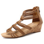 New Women Peep Toe Sandals Casual Comfort Zipper Shoes