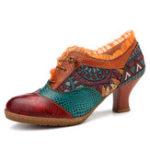 New SOCOFY Retro Mid Heel Shoe Splicing Genuine Leather Pumps